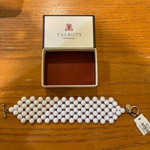 Talbot Bracelet Glass White Wide Goldtone T-Clasp